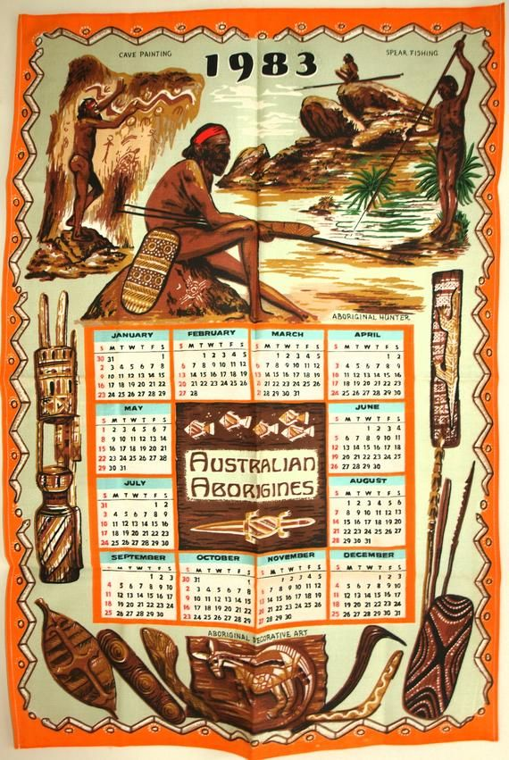 Aboriginal Australia Calendar 1983 Tea Towel Vintage Australiana