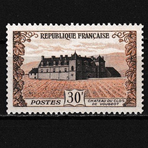 Timbre-Chateau-Clos-de-VOUGEOT-Cote-de-Nuits-Vin-de-Bourgogne-Wine-Stamp-1951