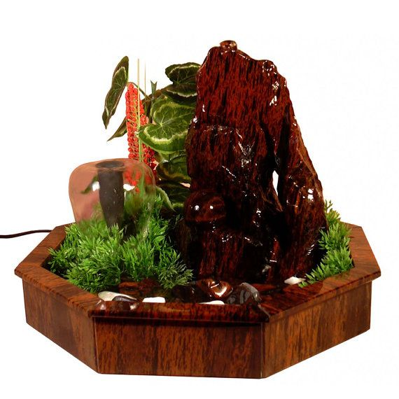 Obsidian indoor fountain with decorative plants by GalleriaCentral