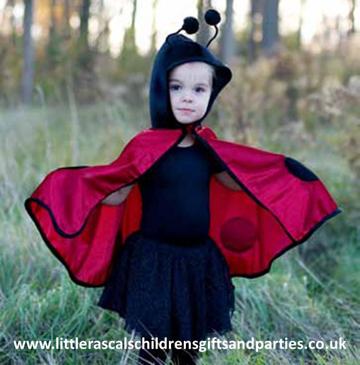 Ever wonder why ladybugs are called ladybugs?  Is it because the black polka dots make them lady-like?  Or perhaps the lipstick red on their back is distinctively womanly?  Who knows.   One thing we do know is that dressing a little lady in this ladybug cape is an irresistible combination!  £20.00 http://www.littlerascalschildrensgiftsandparties.co.uk/#!toddler-fancy-dress-costumes/c217y