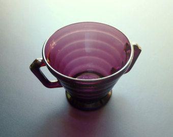 Vintage Hazel Atlas Open Sugar Bowl Moderntone Pattern Amethyst Burgundy Transparent with Handles 1940s Kitchen Ware Dining Ware Collectible