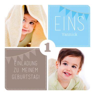 Süße, Quadratische Einladungskarte Zum 1. Geburtstag In Hellblau Und Braun  Mit Fotos #Doppelgeburtstag