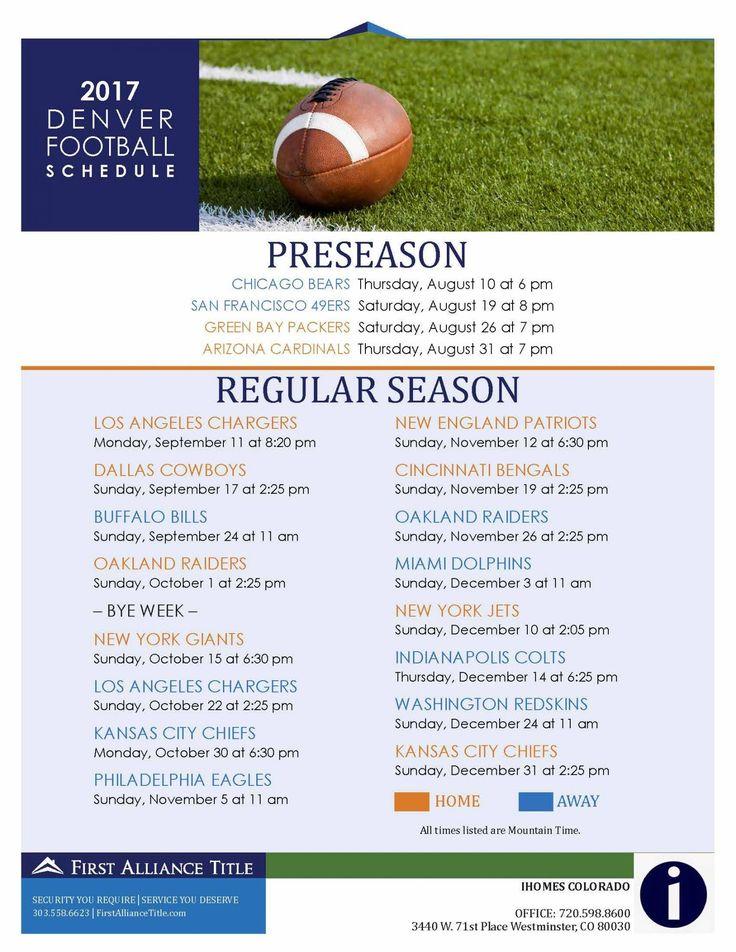 2017 Denver Broncos Football Schedule
