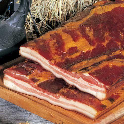 Whole Slab Bacon 9-11 lbs. (de-rind) Burgers' Smokehouse http://www.amazon.com/dp/B00126GBP4/ref=cm_sw_r_pi_dp_ru4Itb1Q09Z4GJJX