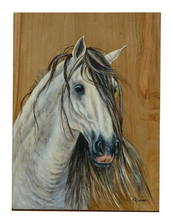 Cavallo andaluso 49 x 37 by WatercolorsRavera on Etsy, €690.00