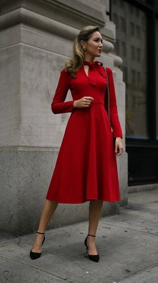 650453d11a33 Holiday style from @maryorton ❤ • 30 Dresses in 30 Days is now LIVE on  memorandum.com! // Red long sleeve fit-and-flare tie-neck midi dress, ...
