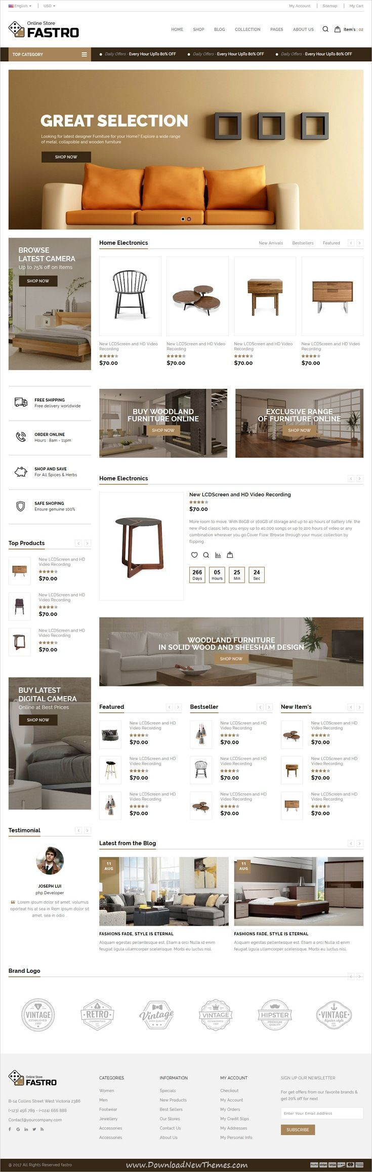 Fastro is clean and modern design responsive #HTML template for #furniture shop #eCommerce website with 6 niche homepage layouts download now..