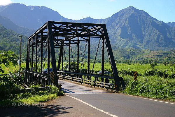Hanalei Bridge...The first of a series of one-way bridges, the Hanalei Bridge marks the way to Ke`e Beach and is still a one-lane gateway to the towns of Hanalei and Ha`ena.
