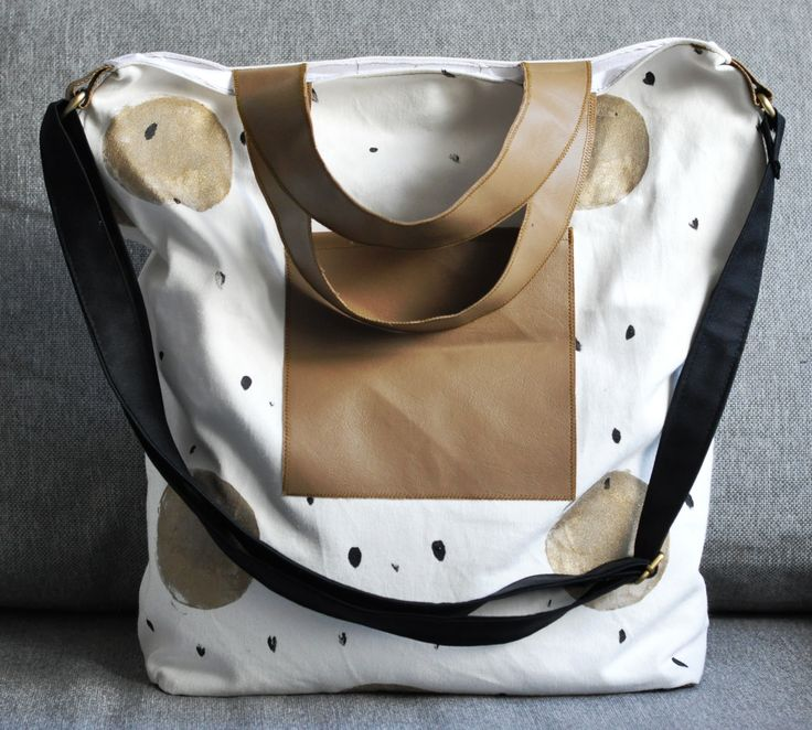 Christmas inspirated hand-printed golden-black dotted totebag.