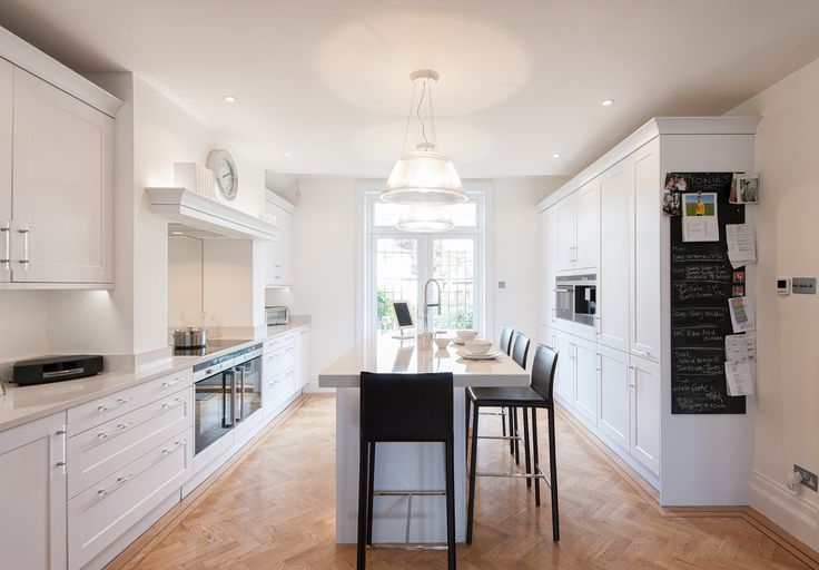 Urban Trad White kitchen with a contemporary feel.