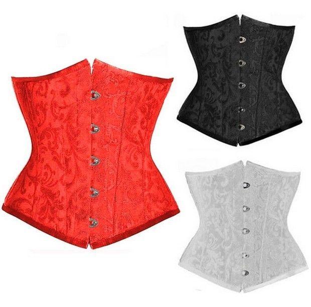 Nero / rosso / bianco jacquard pizzo disossato sottoseno corsetto bustier