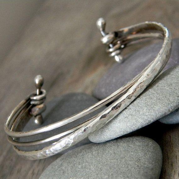 Sterling Silver Cuff Multi Sterling Bracelet-Etsy-onegarnetgirl-$148 #SterlingSilverBangles