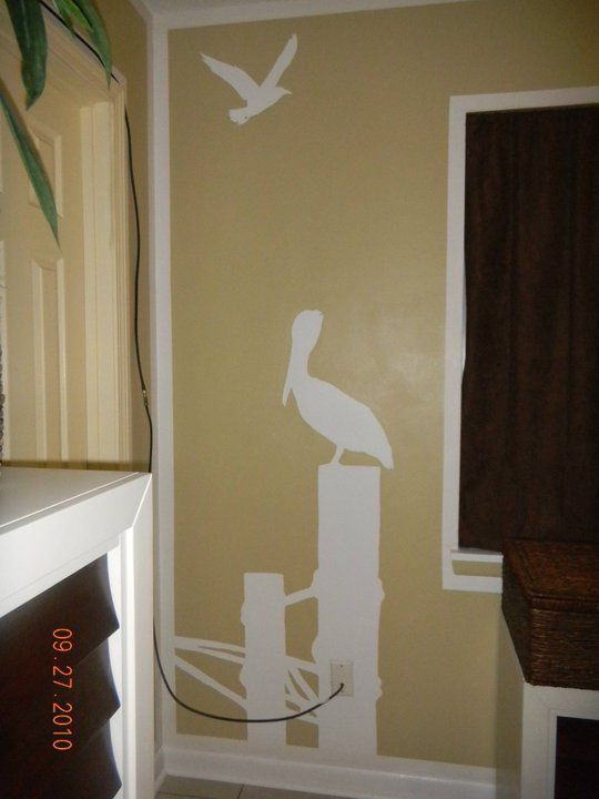 Painted Silhouettes. this would totally work for my beach theme bathroom!