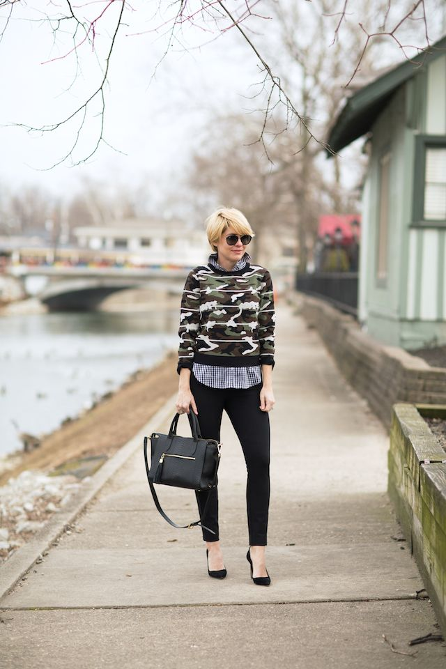 Seersucker + Saddles. Blue gingham shirt+balck pants+black pumps+camo printed sweater+black handbag+sunglasses. Spring Dressy Casual Outfit 2017