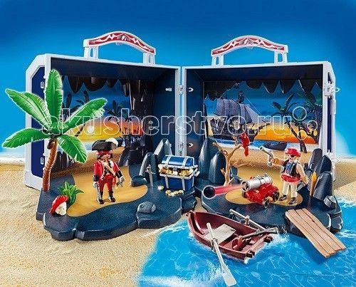 Конструктор Playmobil Пираты: Пиратский сундук с сокровищами  Пираты: Пиратский сундук с сокровищами – подарит крохе много часов увлекательной игры.  Игровые наборы Playmobil помогут найти остров сокровищ, малышу лишь нужно открыть удобный сундук, и с любой стороны можно разложить пейзаж необитаемого острова, на котором пираты спрятали свои сокровища.   Для охраны острова они используют большую функциональную пушку с ядрами.  Чтобы подплыть к острову и справиться с прибрежными волнами, нужно…