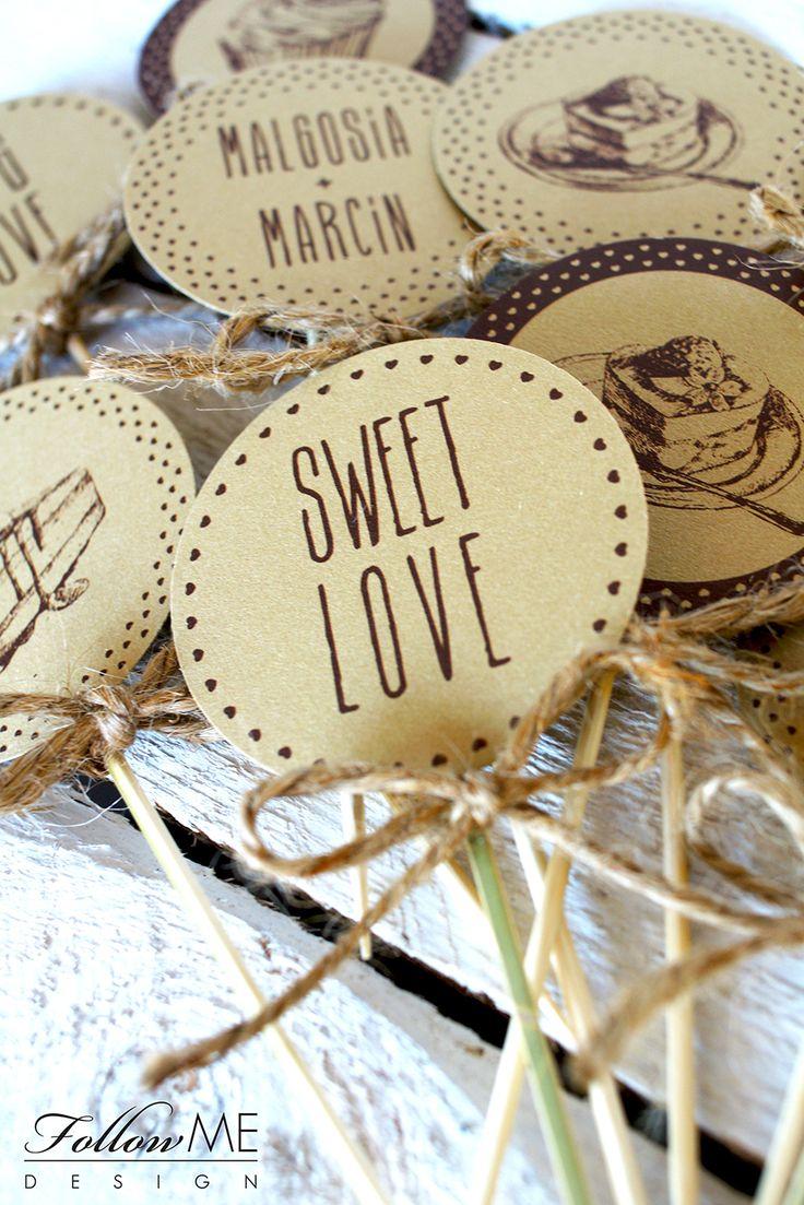 Dekoracja słodkiego bufetu / Rustykalne Dekoracje ślubne od FollowMe DESIGN / Candy Bar Decorations / Rustic Wedding Decorations & Details by FollowMe DESIGN