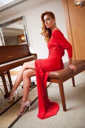 Fidan Şimşek // Gardırop Gurusu Kırmızı Jarse Uzun Kollu Elbise : Lidyana.com