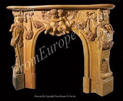 HAND CARVED CHERUB MARBLE FIREPLACE MANTEL