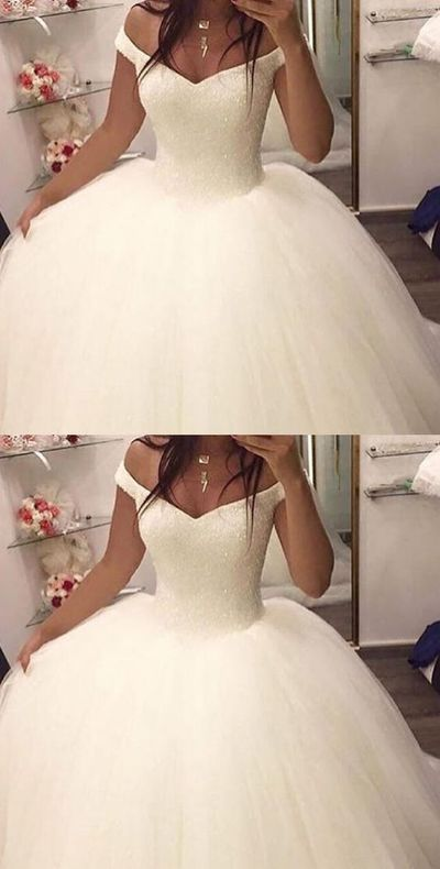 Charming Wedding Dress,Tulle Ball Gown Wedding Dresses,White Bridal