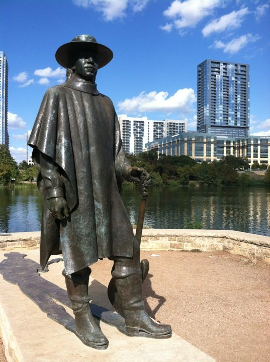 "First lets head over to the Stevie Ray Vaughan Statue at Auditorium Shores on Lady Bird Lake.  Stevie was one of the greatest Blues guitarists of our time  Eric Clapton once said of Stevie Ray "" I didn't get to see or hear Stevie play near often enough, but every time I did I got chills and knew I was in the presence of greatness.""  The statue is very definitely an Austin landmark and at the same time you get a wonderful view of the Austin skyline."