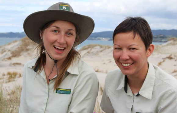 Khaki-clad 'fairy godmothers' Alice Fairs and Mailee Stanbury have had a very important role this summer – they're DOC fairy tern wardens tasked with protecting New Zealand's most critically endangered bird during its breeding season. #nzbirds