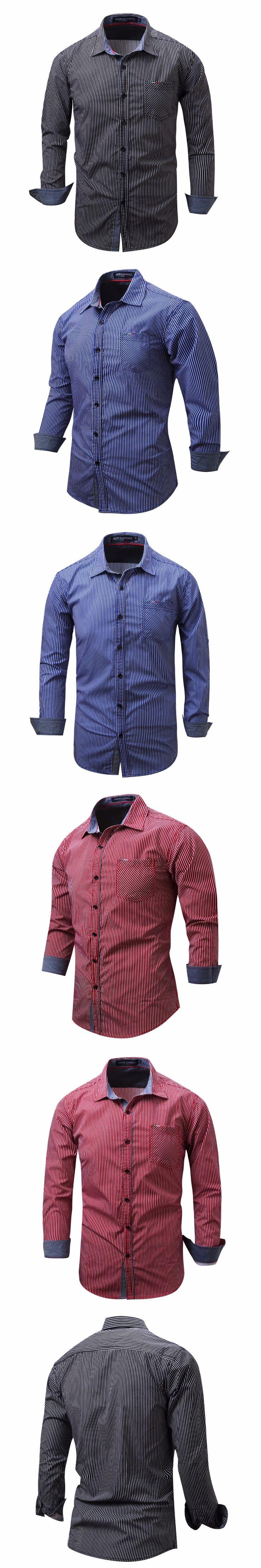 Fashion New 2017 Men Shirts Male Striped Formal Dress Shirt Long Sleeve Mens Brand Casual Shirts Plus Big Size US Size