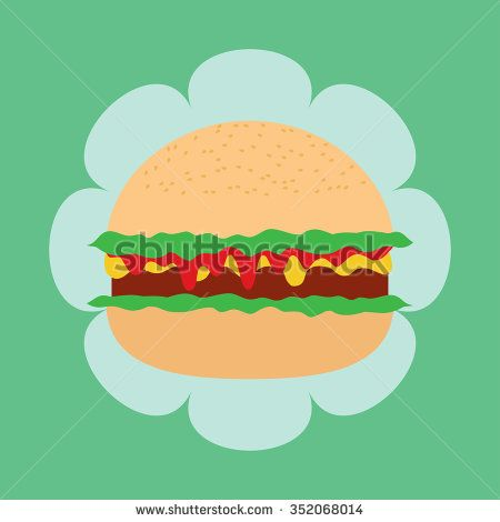 Vector illustration of hamburger - stock vector