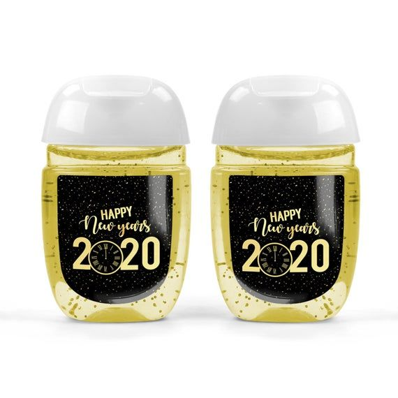 New Year S 2020 Gold And Black Clock Hand Sanitizer Labels Black