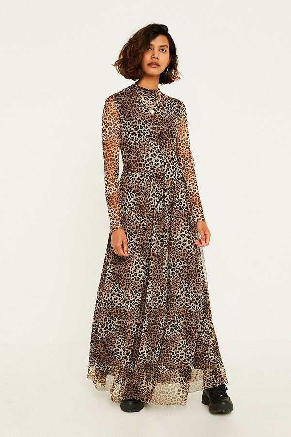 9093183456 Slide View  1  UO Leopard Print Mesh Maxi Dress
