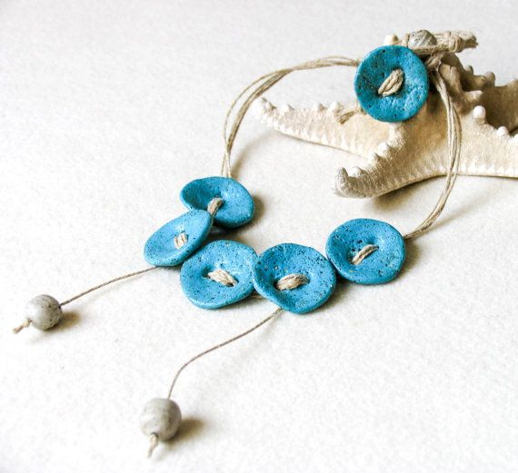 Turquoise Necklace Polymer Clay Flower Necklace by totalhandmadeD