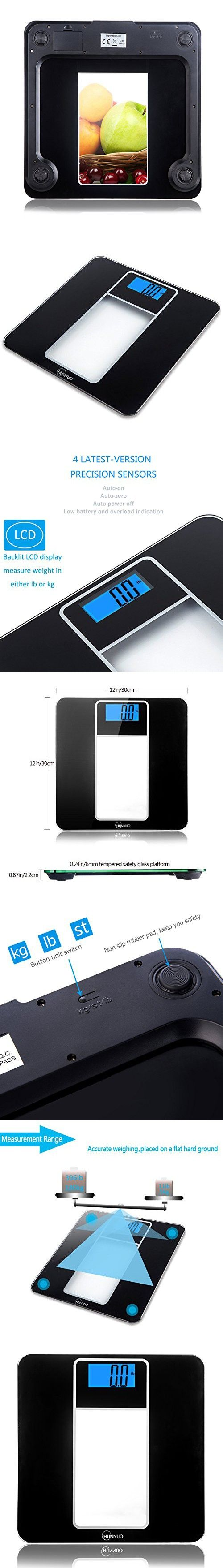 Digital Bathroom Scale, Chunnuo 396lb/180kg Precision Body Weight Scale with Smart Step-on technology, 6mm Tempered Glass (Elegant Black)
