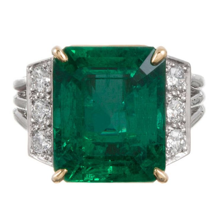 8.42 Carat Emerald Diamond Platinum Ring | See more rare vintage More Rings at https://www.1stdibs.com/jewelry/rings/more-rings