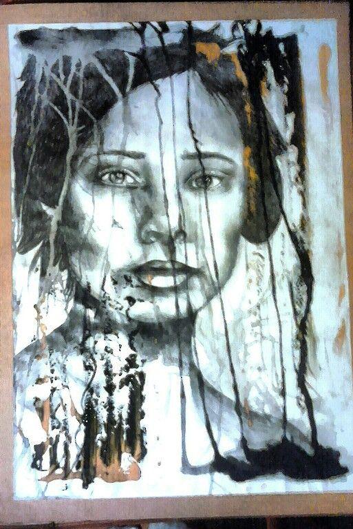 Decaying portrait. Molly Burnip - www.mollyburnipart.com