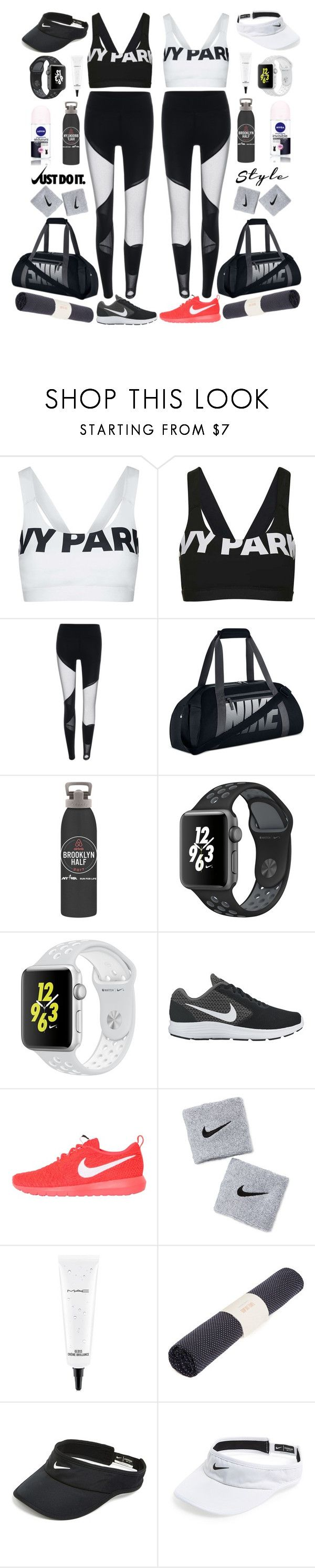 """""""time for the gym"""" by katymill ❤ liked on Polyvore featuring Topshop, NIKE, New Balance, Nivea, MAC Cosmetics, Sweaty Betty and gymessentials"""