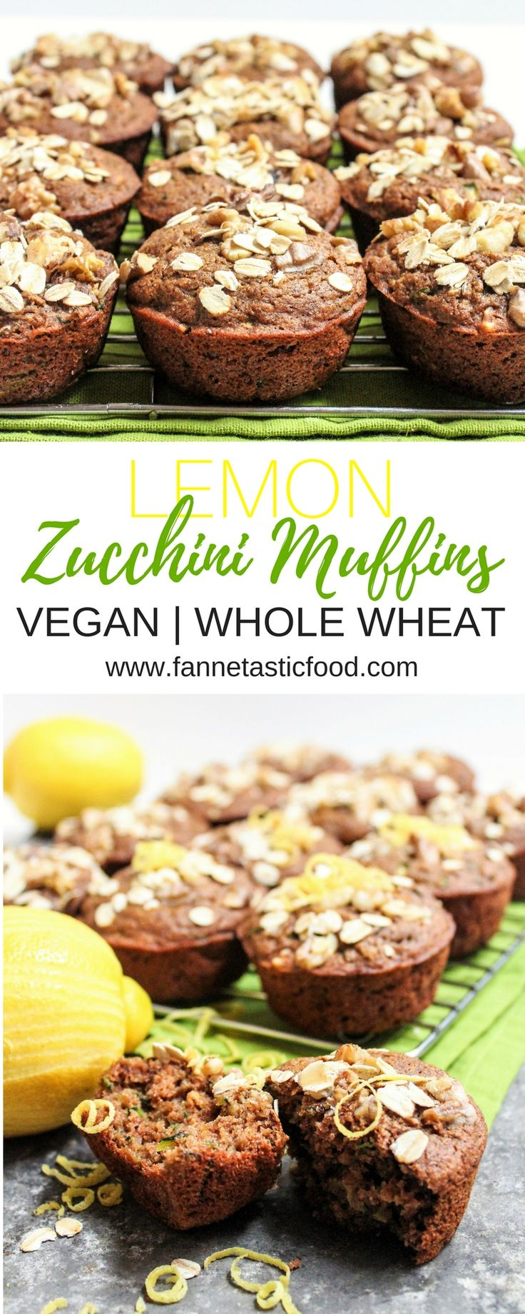 These vegan Lemon Zucchini Muffins are so easy and delicious! You'll never guess they're 100% whole wheat and packed with veggies. Perfect for a healthy breakfast or portable snack!