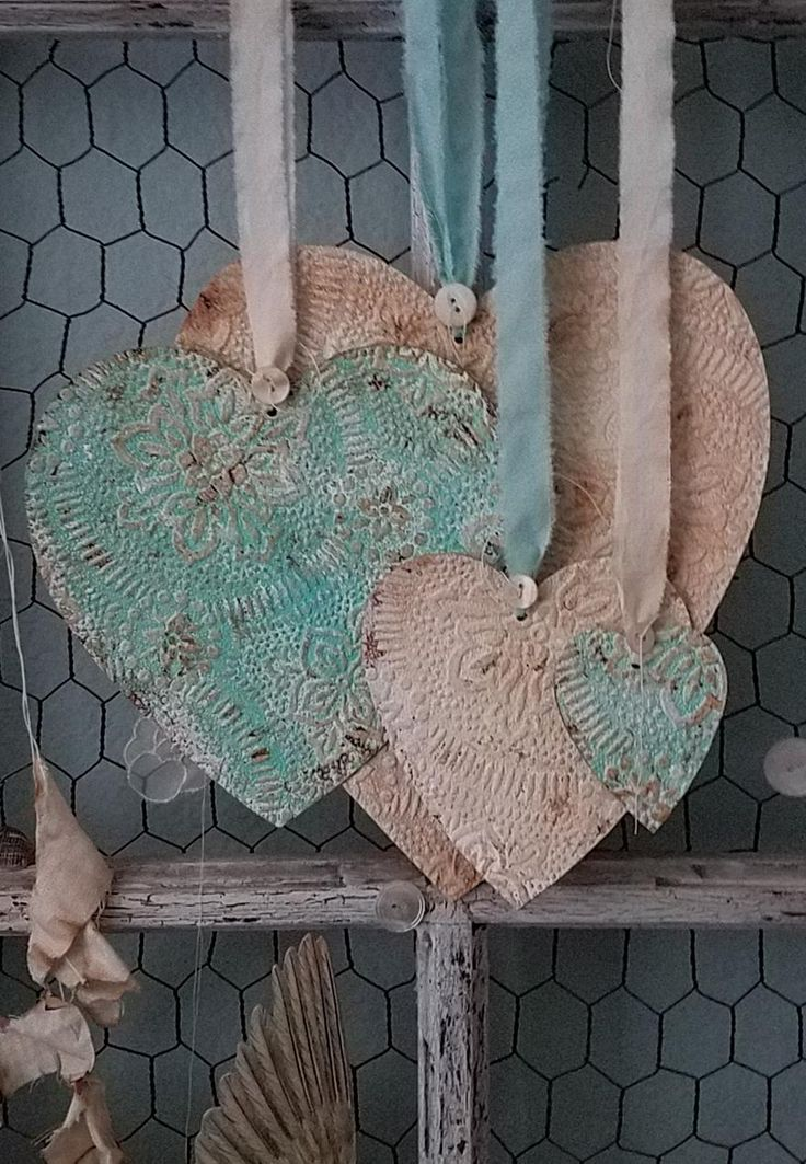 Turquoise and cream shabby chic tin ceiling tile hearts
