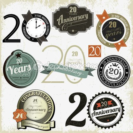 Company Anniversary Card Design 20 Years Signs And Cards Vector Stock Pinterest Logo