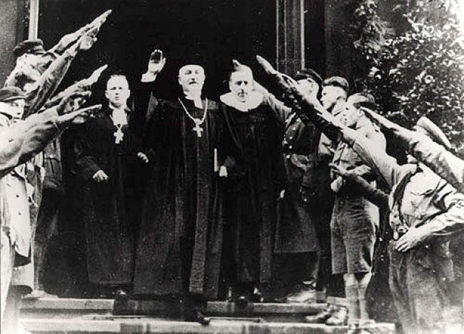National Bishop Friedrich Coch giving a Hitler greeting in Dresden, 10 December…