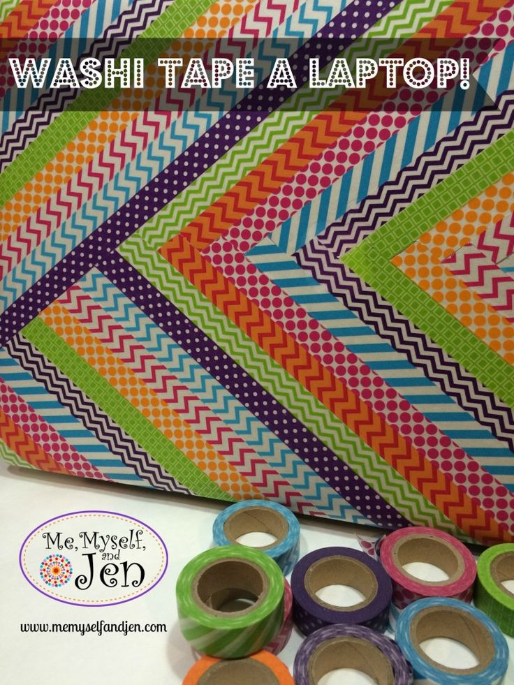 I washi taped a custom laptop cover in less than 9 minutes (www.memyselfandjen.com)