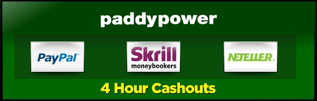 Paddy Power Casino process cashouts within 4 hours – just withdraw your winnings using PayPal, NETeller or MoneyBookers to take advantage: http://www.casinomanual.co.uk/4-hour-cashouts-paddy-power-casino/