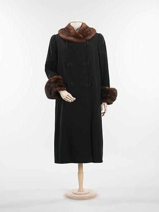 Coat  Mainbocher (American, 1890–1976)  Date: 1946 Culture: American Medium: wool, fur, silk