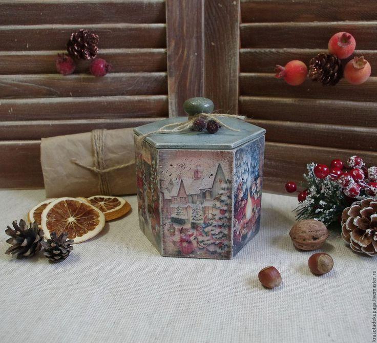"""Купить Короб новогодний """"Сказочный лес"""", декупаж - бирюзовый, сказка, Новый Год, короб для хранения"""