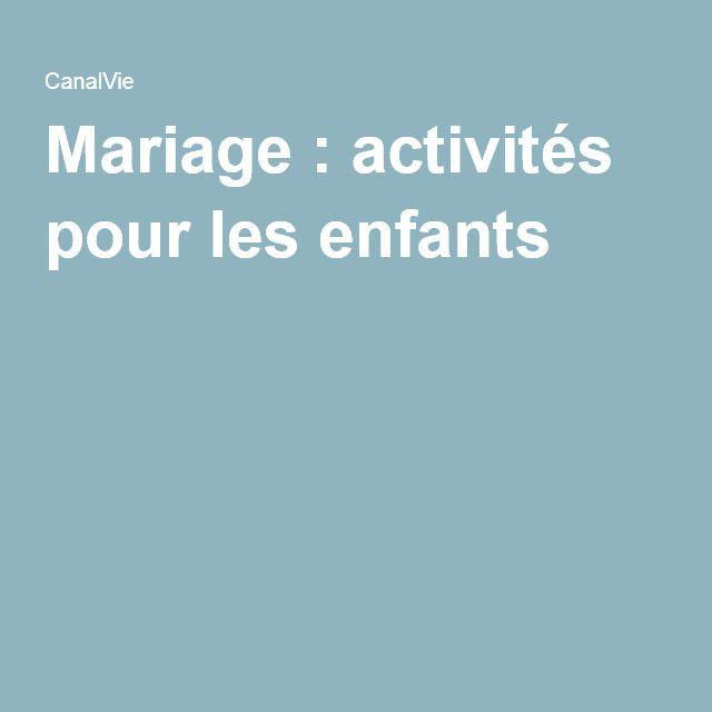 Mariage : activités pour les enfants