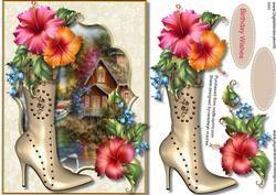 Mooie Gouden Schoen Met Hibiscus Bloemen