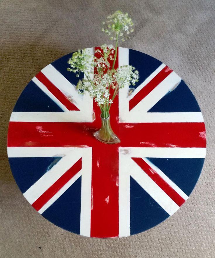 Union Jack coffee table // England // UK coffee table // Side table // lamp table // English flag // UK flag // Handpainted // Shabby chic by BornAgainBargainsCo on Etsy