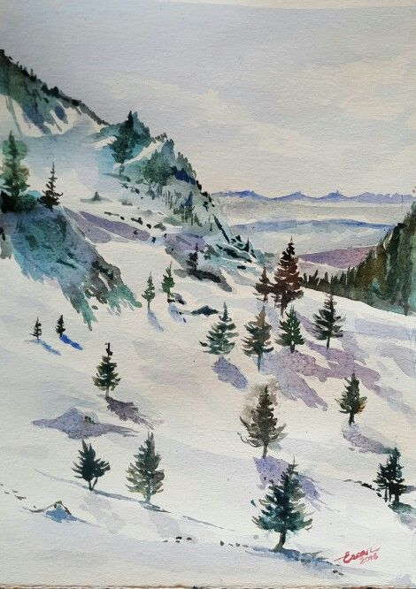 Winter in Kartalkaya -kartalkaya'da  Kış-Winter 23 cmx33cm watercolor on paper
