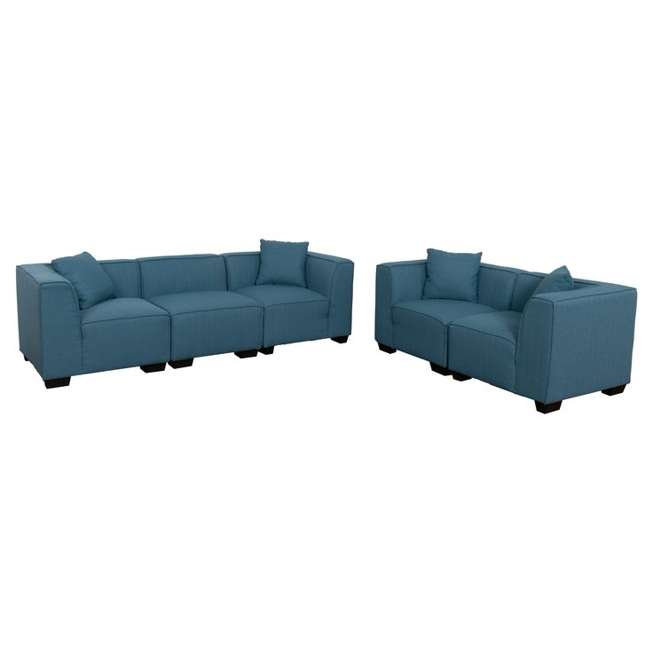 Lida 5pc Blue Sectional Sofa and Loveseat Set - Corliving