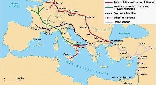 Le trajet de la première croisade