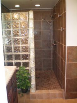 I love the idea of a walk in shower with no door or curtain to deal with.
