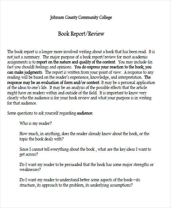 College Book Report Template 1 Professional Templates